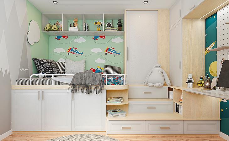 儿童卧室这样布置,学习休息两不误