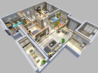 立方体现代简约三居室