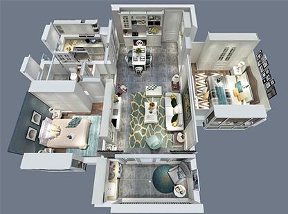 卡尔顿纯白世界三居室