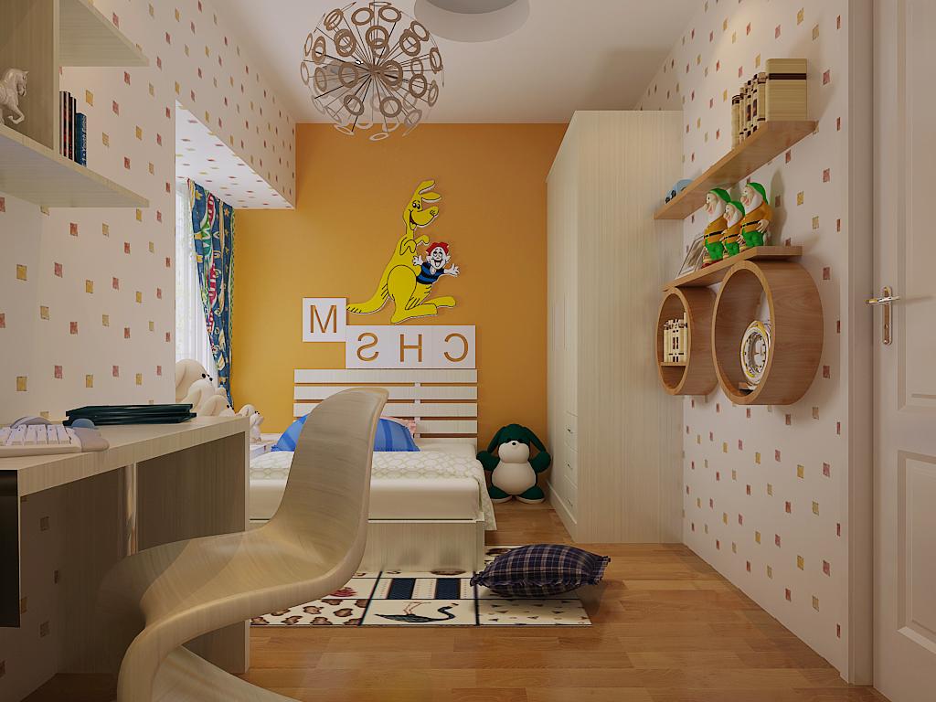 现代风格女孩儿童房