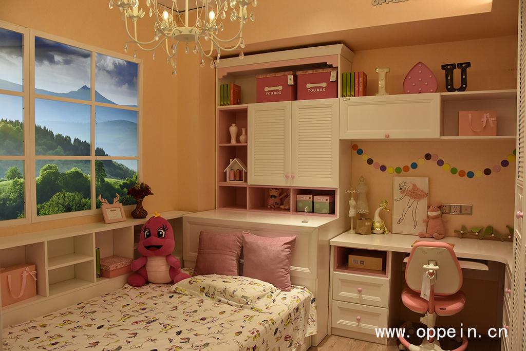 儿童房书柜带书桌效果图