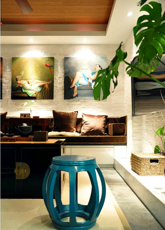新中式客厅鼓凳效果图